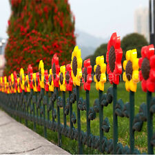 "Sungmor 98"" Plastic Sunflower Garden Fence Picket,Lawn Flowerbeds Borders Decor"