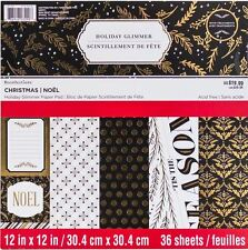 Recollections Christmas Holiday Glimmer Paper Pad 12x12 36 Sheets 491322