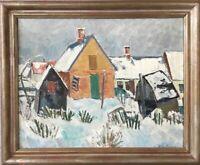 Albert Krüger 1885–1965 Fischerhäuser im Winter Schweden Skandinavien