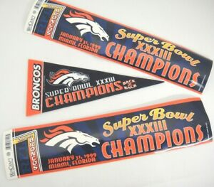 Denver Broncos Super Bowl XXXIII Champions Pennant and 2 Bumper Stickers 1999