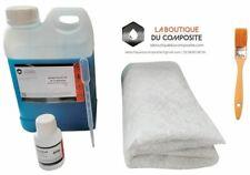 RESINE POLYESTER ISO. 2kg + 3m² de MAT 300g + 60g catalyseur + pipette + pinceau