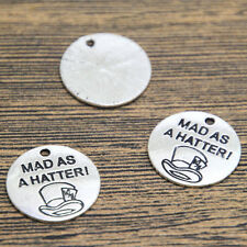 15pcs Mad As A Hatter Charms silver Alice In Wonderland Mad Hatter Pendants 20mm