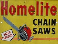 """Vintage Reproduction Homelite Chain Saw 9"""" x 12"""" Metal Tin Aluminum Sign"""