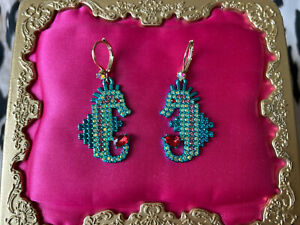 Betsey Johnson Crabby Couture Turquoise Blue Pixel Seahorse Crystal AB Earrings