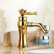Luxury Gold Brass Swivel Spout Bathroom Basin Faucet Single Lever Sink Mixer Tap