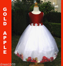 Girls Christmas, Pageant, Party Silk Petal  Dress, Red/White Sz: 4 (3-4 years)