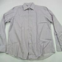 Bugatchi Uomo Mens Button Front Casual Shirt Long Sleeve Stripes 17 36/37