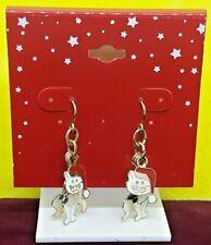 Christmas Earrings White Kitten w/Santa Hat Hanging Pierce Vintage Retro Fashion