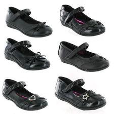 Scarpe nere in sintetico con chiusura a strappo per bambine dai 2 ai 16 anni