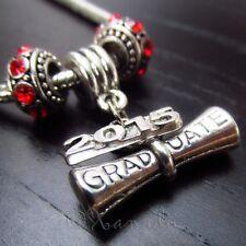 Graduation Diploma 2015 European Charm Pendant And Large Hole Birthstone Beads