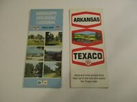 Lot of 2 Chevron & Texaco Arkansas Louisiana Mississippi Road Maps~Box L7