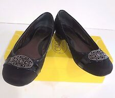 JOAN AND DAVID HARRIET SATIN & PATENT LEATHER  QUILTED BALLET FLATS SZ 8