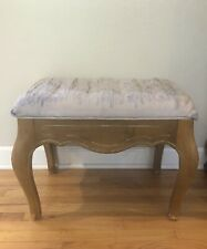 Ethan Allen French Country Fruitwood Foot Stool Vanity Bench Ottoman A