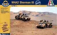 Italeri 1/72 7511 WWII US M4A2 Sherman III (2 Fast Assembly Models)