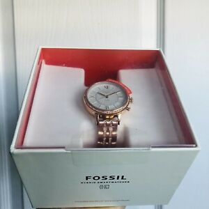 Fossil Hybrid Smartwatch Rose Gold Stainless Steel 36mm Women's iPhone/Android
