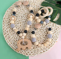 Baby Teething Wood Beads Pacifier Chain Clip Elephant Beech Pendant Pram Garland