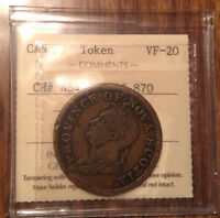 1832 NOVA SCOTIA ONE PENNY TOKEN BRETON 870 ICCS VF-20