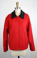 Pendleton Red Black Wool Zip Snap Front Jacket Coat Size S USA Made