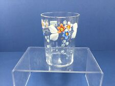 """Vintage, 3 3/4."""" Clear Panel Glass, Hand Painted Floral Design Drinking Glass"""