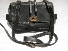 BAG Women's AMEKO Travis Black Leather Cross Body Mini Satchel Handbag Purse EUC