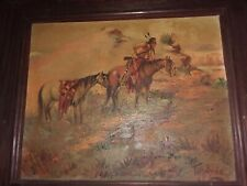 """OIL SIGNED A.R. TILBURNE """"'THE SCOUT"""" WESTERN SCENE PAINTING Listed  ARTIST"""