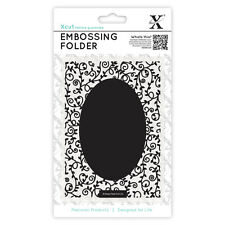 Docrafts Xcut A6 embossing folder 15x10cm oval bordered with leaves & SWIRLS