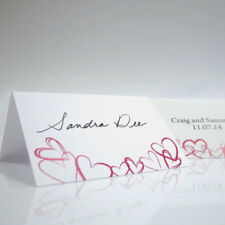 24 Personalized Modern Hearts Wedding Place Cards