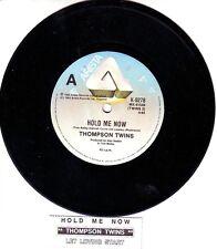 "THOMPSON TWINS  Hold Me Now 7"" 45 rpm vinyl record + juke box title strip"