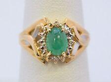 2563-14K YELLOW GOLD GREEN STONE & DIAMOND 3.20 GRAMS SZ 6.75 RING