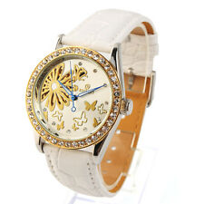 Fashion Women's Leather Butterfly Skeleton Automatic Mechanical Wrist Watch
