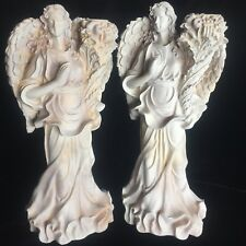 "PAIR 2 RESIN ANGELS TAPER CANDLESTICKS BEAUTIFUL FOR HOLIDAYS! 12"" STUNNING!"