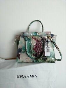Rare Brahmin Leather Large Pricilla Bag Melbourne Nirvana NWT (moc croc em)