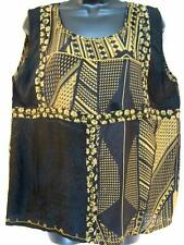 T390~TIENDA HO~Black/Gld~FANCY TANK TOP~Nothing Matches~RAYON~floral~STUNNING~OS