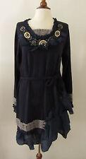 NWT Womens JOHN FASHION Navy Blue Embellished Boho Sweater Dress ~ Medium