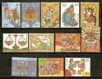 INDIA 2010 Astrological Signs Zodiac sign Astrology Art 12v Stamps Set MNH