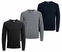 Jack & Jones Mens New V Neck Knitted Long Sleeve Jumper Black Navy Grey