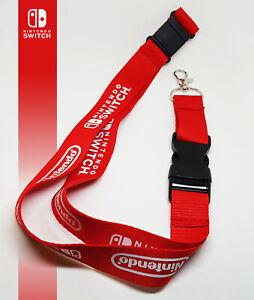 Nintendo Switch Lanyard Neck Band Key Chain ID Holder Video Game Promo Red Logo