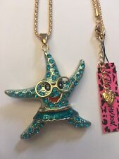 Betsey Johnson BLUE STARFISH W-FACE AND GLASSES necklace-BJ15116
