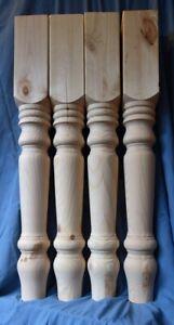 SET OF 4 NATURAL PINE FARMHOUSE TABLE LEGS