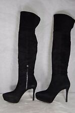 MIU MIU BY PRADA HIGH HEEL PLATFORM BLACK SUEDE OVER THE KNEE BOOTS EU 41 US 11