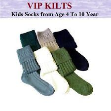 KIDS BOYS GIRLS WOOL BLEND MORVEN KILT HOSE SOCKS  WHITE,CREME,BLACK SIZE 4-12