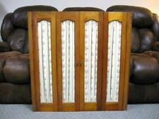 Vintage Wood Folding Interior Window Shutters Curtain Style with Fabric Inserts