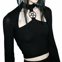 Gothic Short Top Slim Black Hollow Pentagram Women Autumn Streetwear Clothes New