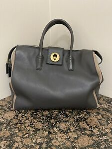YVES SAINT LAURENT Muse Two Cabas Charcoal Leather Canvas Tote Bag Handbag YSL