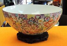 "17"" Porcelain Eggshell Bowl Hand-Painted Raised Enamel Ten-thousand Flower Motif"