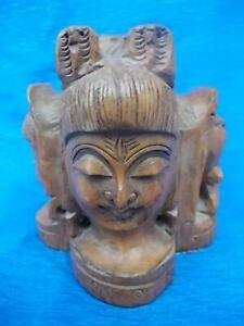 M620 / FABULOUS EARLY 20TH CENTURY WOODEN HAND CARVED INDIAN FIGURE OF DIETIES