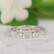 Hallmarked 14K White Gold Eternity Band VVS 2.80Ct Diamond Wedding Ring Size 6
