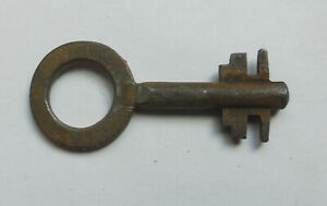 Vintage Small Iron or Steel r r  key with Round Bow and Double Cut Bit