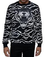 Sean John Mens Sweater Black Size XL Crewneck Tiger Knit Pullover $89 #053