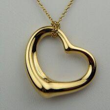 "Tiffany & Co. Elsa Peretti Open Heart Pendant Necklace 18 kt Gold 19"" #7796"
